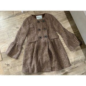Anthropologie Beth Bowley 12 Brown Wool Tweed Coat